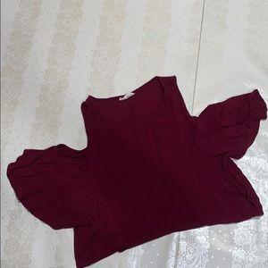 Cold shoulder burgundy crop top